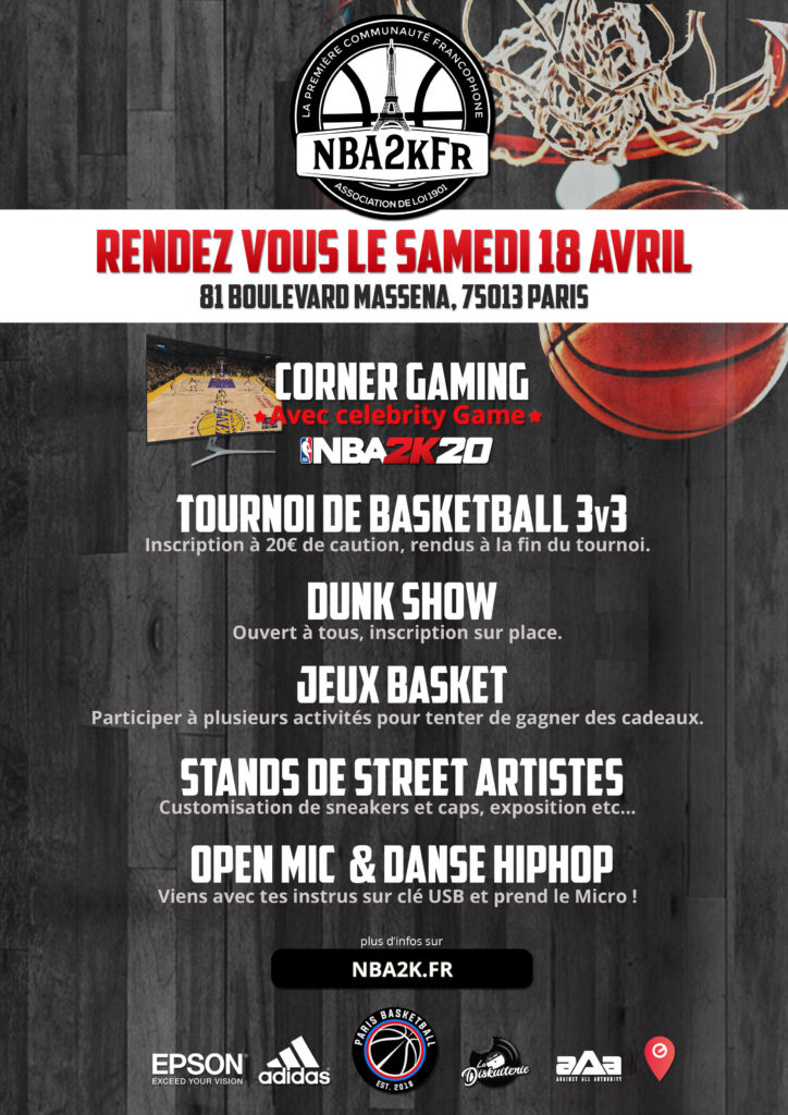 Journée Associative NBA2kFr x Paris Basket du 18 Avril à la Halle Georges Carpentier